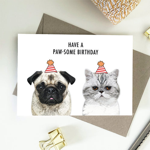 Wholesale 6 of - Have A Paw-Some Birthday Cards