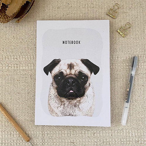 Pug Notebook A5 Blank 100% Recycled Paper Notebook
