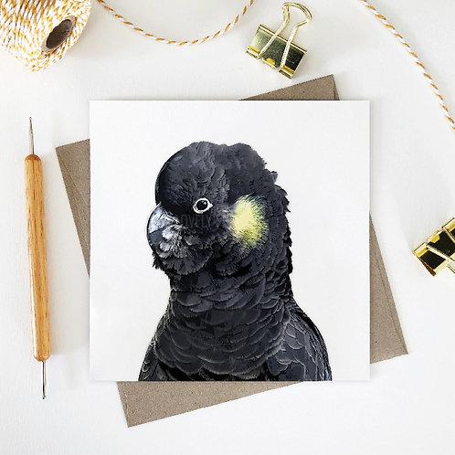 Yellow-Tailed Black Cockatoo / Patti Greeting Card