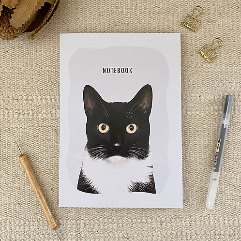 Black & White Cat Notebook A5 Blank 100% Recycled Paper Notebook