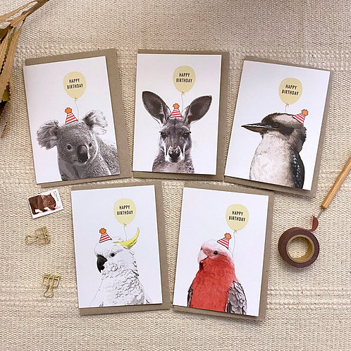 Pack of 5 mixed Australian Animas with balloons Birthday Cards