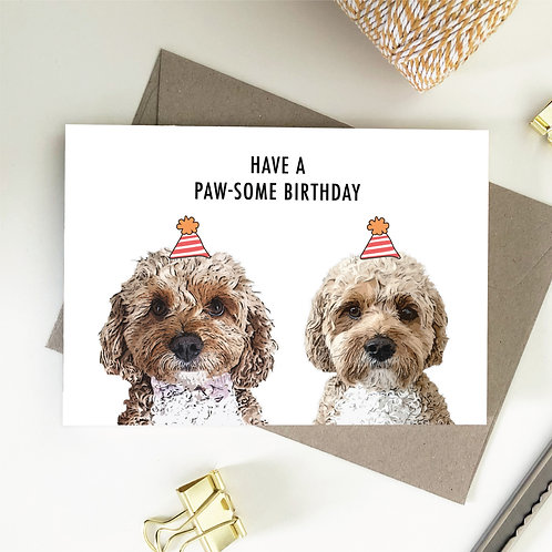 Wholesale 6 of - Have A Paw-Some Birthday Cavoodle Card