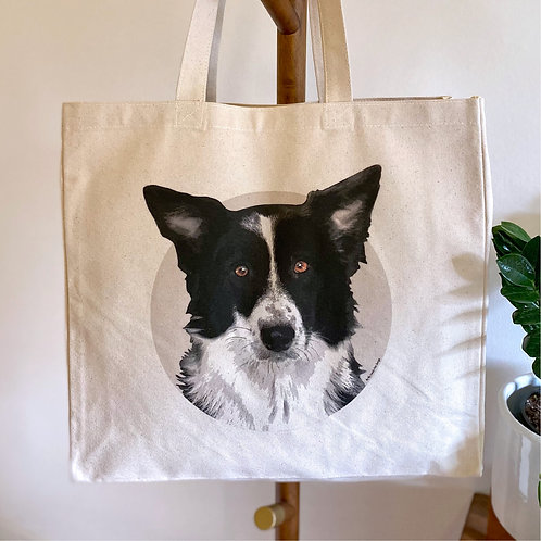 Border Collie Tote Bag, Dog Lover Tote Bag, Canvas Bag