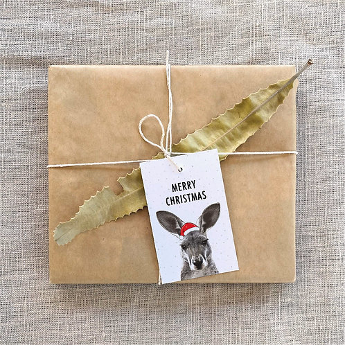 Kangaroo Merry Christmas Gift Tags