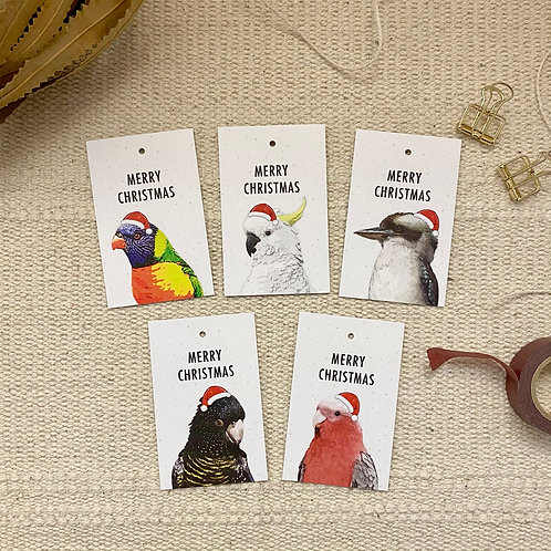 Christmas Gift Tags, Pack of 10, Australian Birds