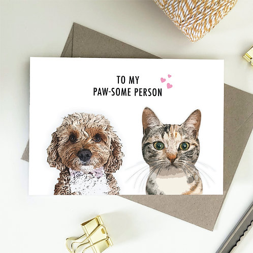 Wholesale 6 of - To My Paw-Some Person - Dog & Cat Card
