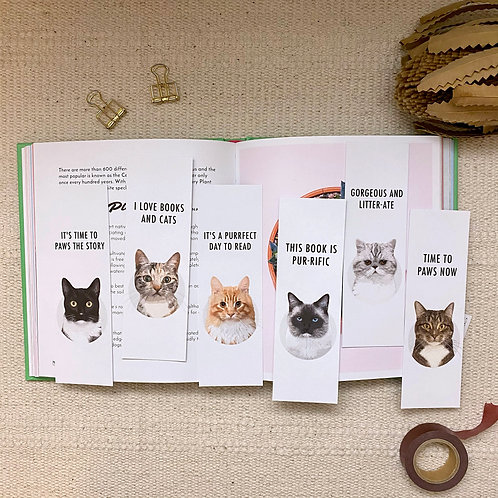 Pack of 6 Mixed Cat Lover, Eco Friendly Recycled Bookmarks
