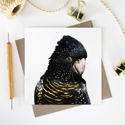 Red-Tailed Black Cockatoo / Michelle Greeting Card