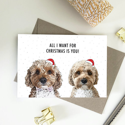 All I Want For Christmas Is You, Cavoodle Merry Christmas Card