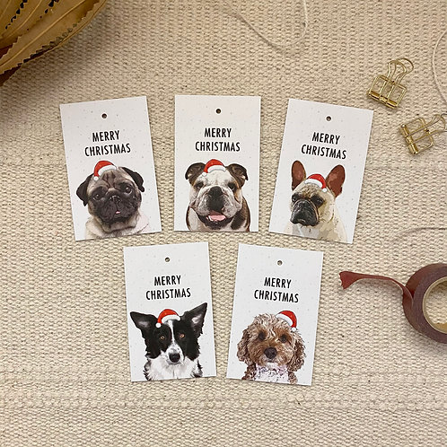 Christmas Gift Tags, Pack of 10, Dog Lover