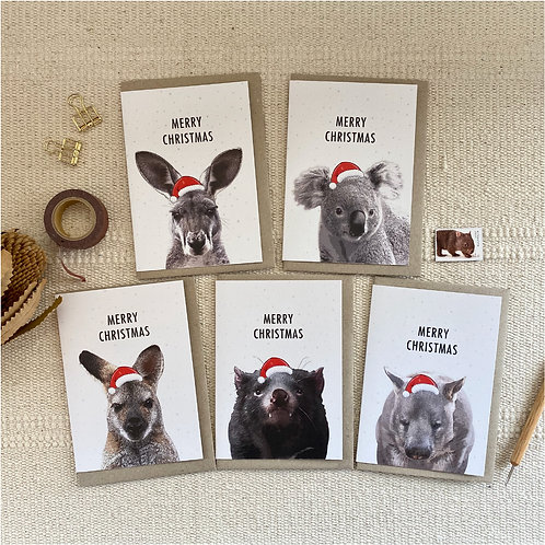 Pack of 5 Mixed Aussie Native Mammal Christmas Card, Australian Animal Cards, Ch