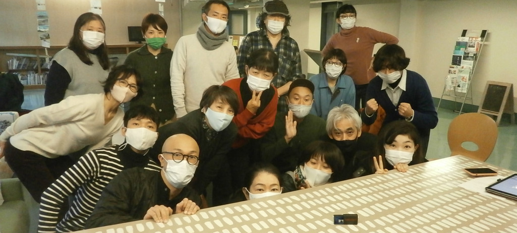 Kobe with the wild artist crew of wonderful Artist C.A.P. House!