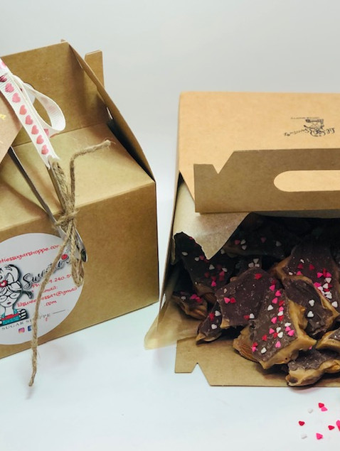 1 pound Valentines Day Toffee in packaging