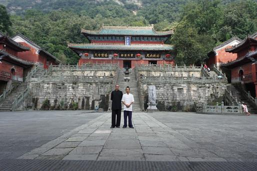 Jason with Master Bing at Zixiao Gong, Wudangshan, Hubei, China 2016