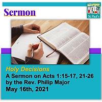 SERMON  May 16 2021 Holy Decision Headin