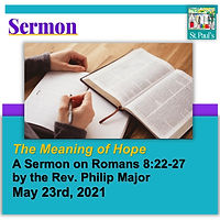 SERMON  May 23 2021 The Meaning of Hope