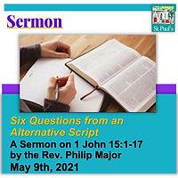 SERMON  May 9 2021 Six Questions Heading