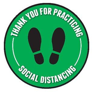 Circular Adhesive Vinyl Stickers-Social Distance
