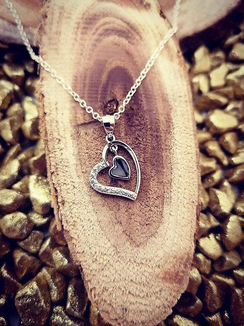 Anhänger Herz mit 11 Zirkonia Echt Silber 925/000