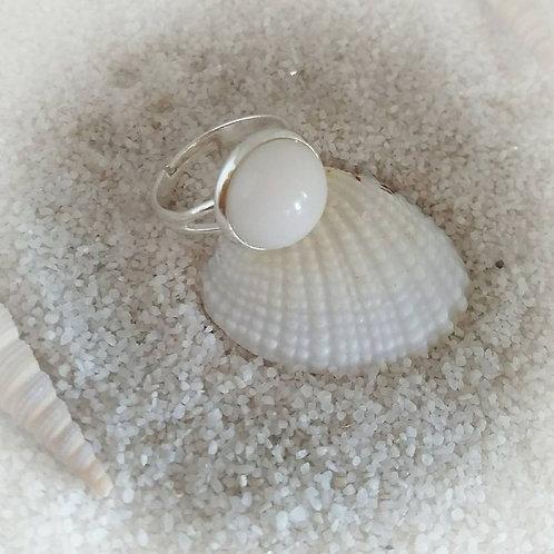 Edelstahl Ring mit Muttermilchlinse
