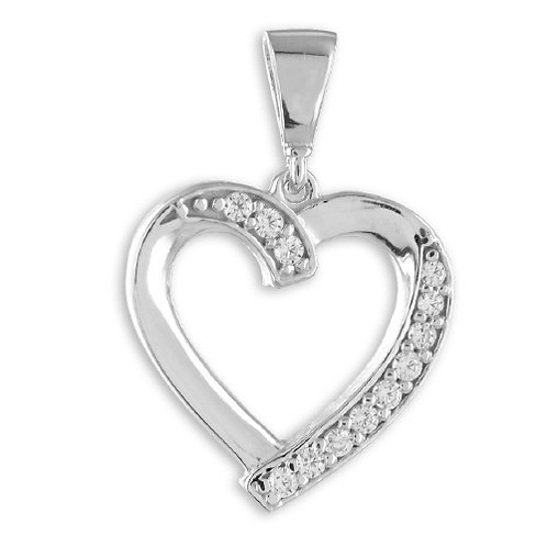 Anhänger Herz mit 12 Zirkonia Silber 925/000