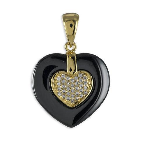 Anhänger Herz Keramik schwarz mit 33 Zirkonia - 18ct. vergoldet