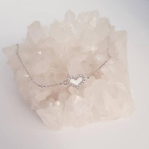 Armband Herz mit 16 Zirkonia Echt Silber 925/000
