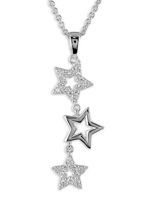 Collier mit Sternen und Zirkonia - Silber 925/000