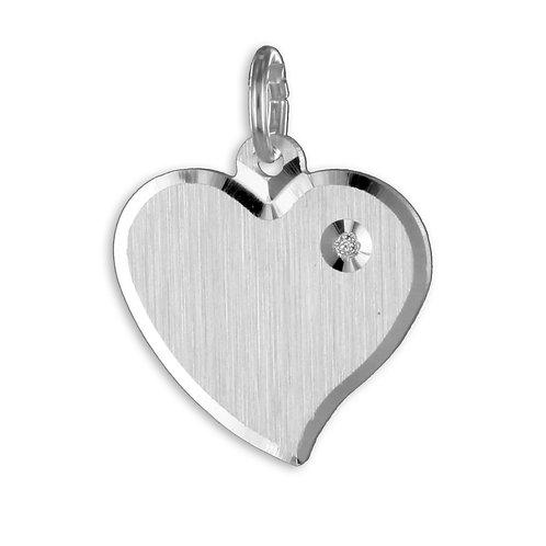 Gravurplatte Herz mit Zirkonia - Silber 925/000