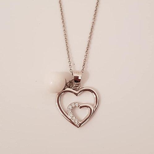 Collier Herz mit 7 Zirkonia Echt Silber 925/000