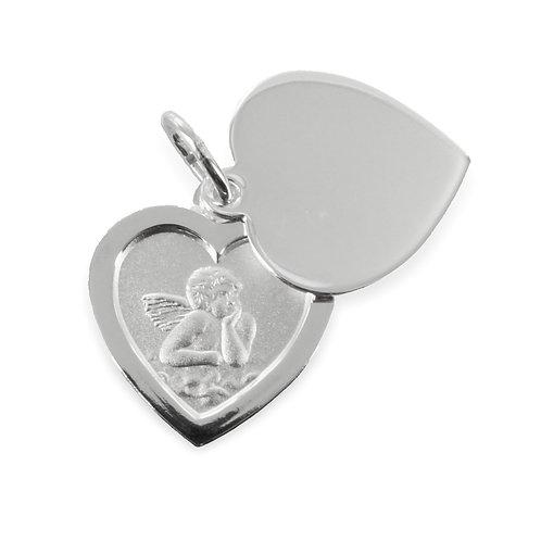 Doppelanhänger Herz Schutzengel - Silber 925/000