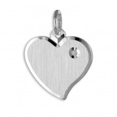 Gravurplatte Herz mit Zirkonia - Silber 925/000 (Komplettset)