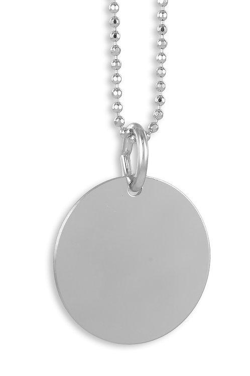 Set Gravurplatte 16mm + Kette Silber 925/000