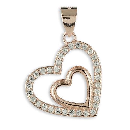Anhänger Herz mit 32 Zirkonia Silber 925/000 rvg.