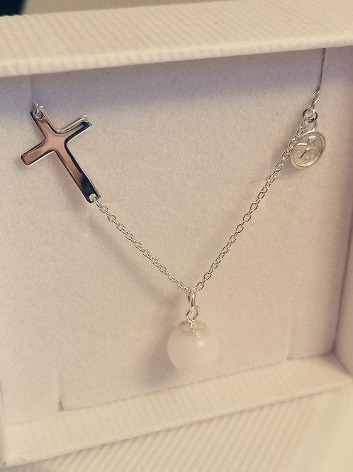 Collier-Kreuz-Engel 42/45cm Silber 925/000