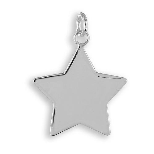 Anhänger Gravurplatte Stern Echt Silber 925/000
