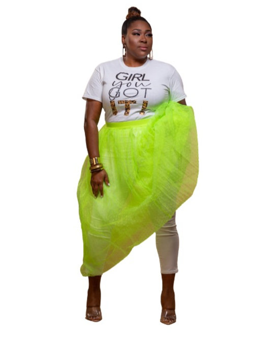 Neon Glow Mesh Tulle Skirt