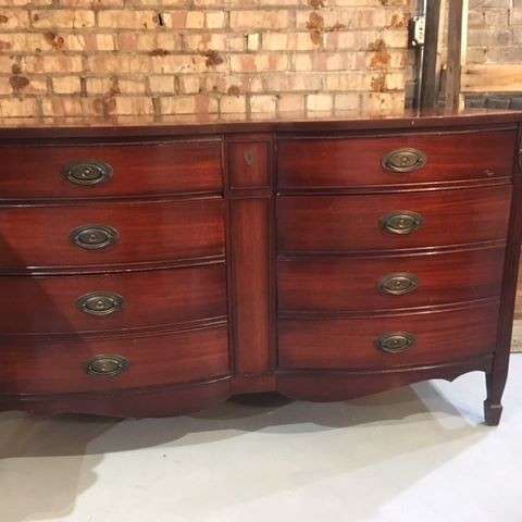 Federal-style Mahogany Double-Bow Front Dresser and Mirror