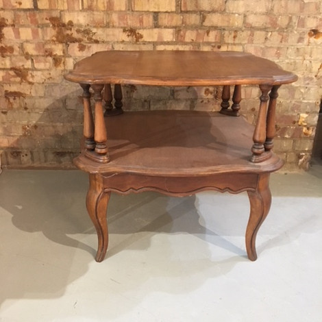 Two shelf wood end table