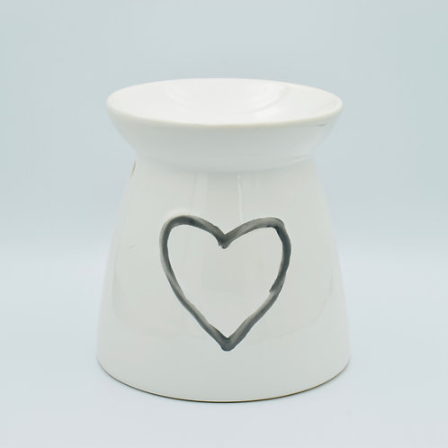 White Heart Ceramic Wax Melt Burner with 20 wax melts