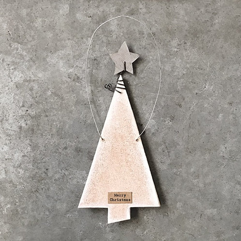 Flat hanging Christmas tree with star