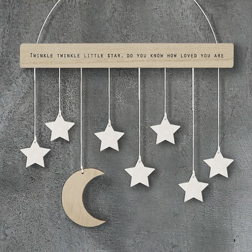 Wooden hanging stars and moon