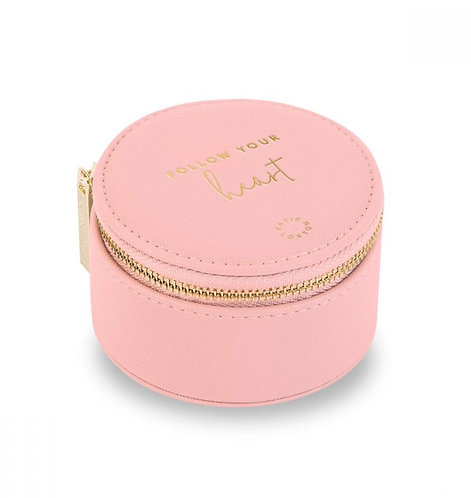 KATIE LOXTON  SMALL CIRCLE JEWELLERY BOX   FOLLOW YOUR HEART   PINK