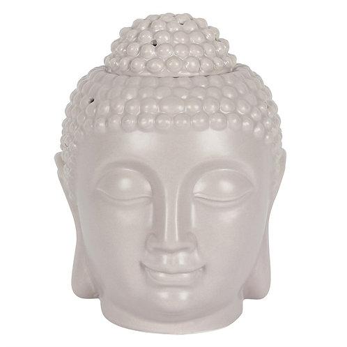 Large Buddha Head Ceramic Wax Melt Burner - Grey
