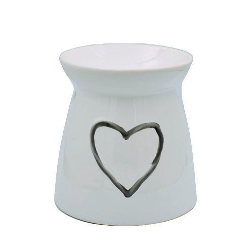 Heart Ceramic Wax Melt Burner - White