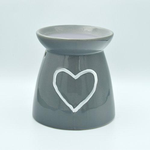 Grey Heart Ceramic Wax Melt Burner with 20 wax melts