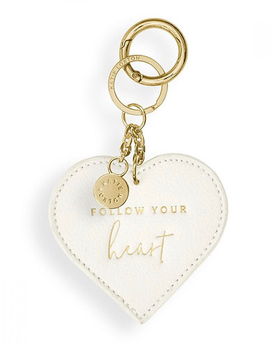 KATIE LOXTON | CHAIN KEYRING | FOLLOW YOUR HEART | OFF WHITE