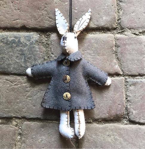 White rabbit with grey jacket-Emily
