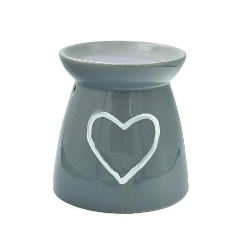 Heart Ceramic Wax Melt Burner - Grey