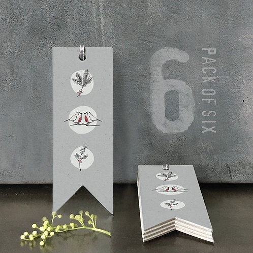 Gift tags pack of 6 - grey robins